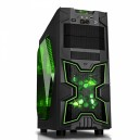 Case NINJA - Gaming Middle Tower, USB3, 12cm green fan, ODD/HDD kit, Trasp Wind, Card Reader
