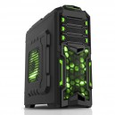 Case DESTROYER- Gaming Middle Tower, 2xUSB3, 3x12cm green fan, ODD/HDD kit, Card Reader